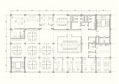 grayscale architectural plan of an office building.