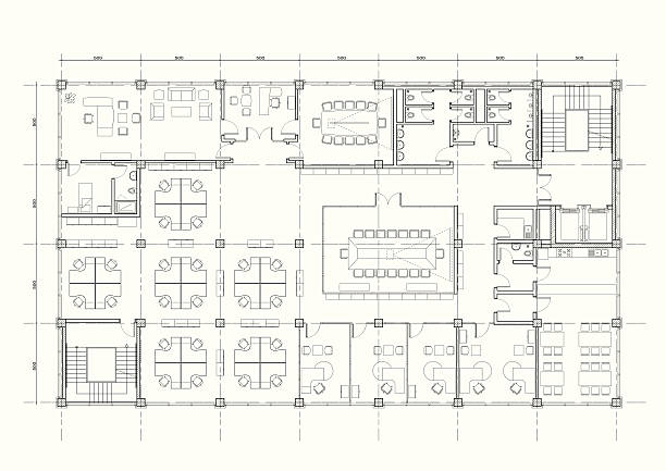 bildbanksillustrationer, clip art samt tecknat material och ikoner med office building architectural plan - blueprint