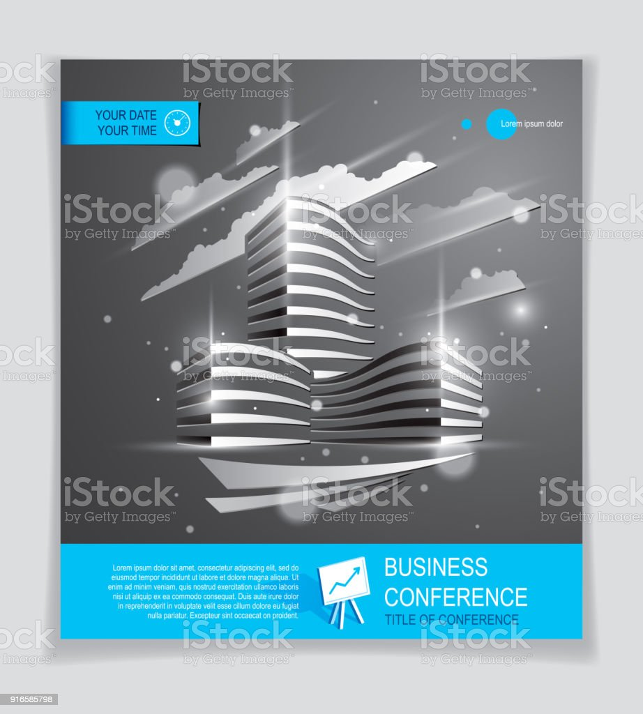 Office Building Brochure, Modern Architecture Vector Flyer With Blurred  Lights And Glares Effect. Real
