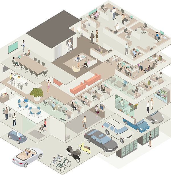 Office building cutaway illustration Cutaway illustration of an office building in isometric view includes a sub basement with a server room, a parking garage with cars, motorcycles and bicycles, a street level lobby, ATM and shop, and three levels of offices complete with kitchens, conference rooms, cubicles, and dozens of workers. call centre illustrations stock illustrations