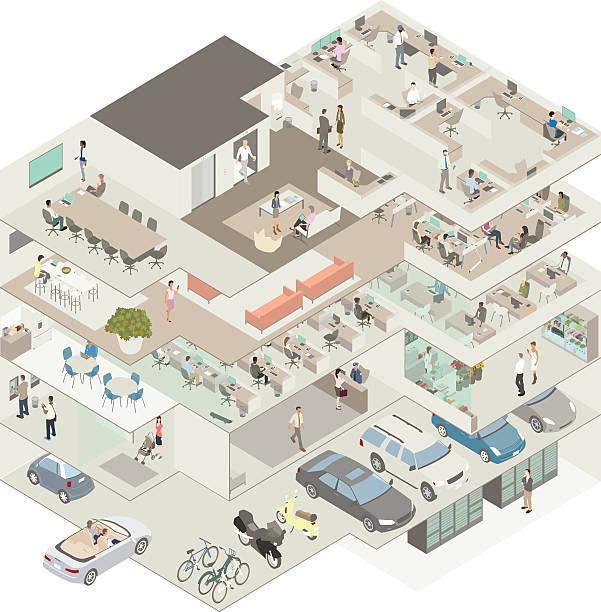 Office building cutaway illustration vector art illustration