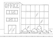 istock Office building exterior front view graphic black white sketch illustration vector 1211491258