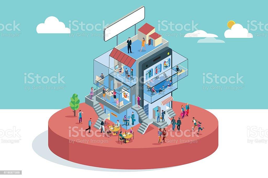 Office Building In Isometric View vektör sanat illüstrasyonu