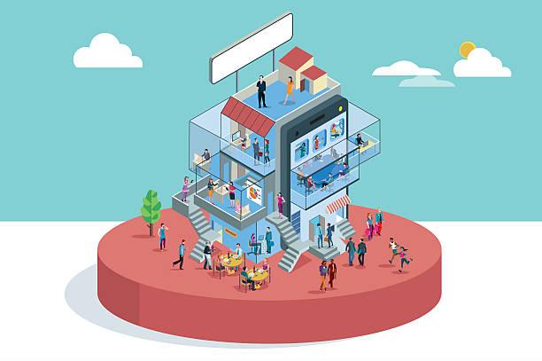 office building in isometric view - oberhaus stock-grafiken, -clipart, -cartoons und -symbole