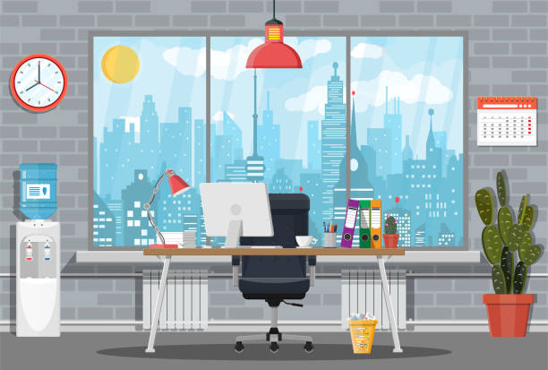 office building interior. - office stock illustrations