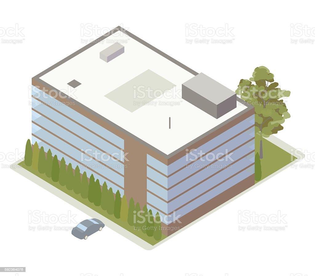 Office building isometric illustration vector art illustration