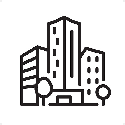 Office Building - Outline Icon - Pixel Perfect clipart