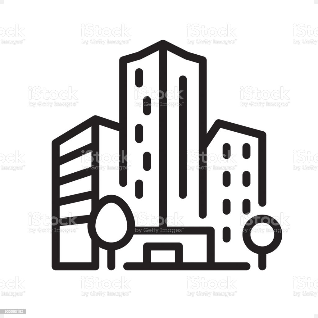 Office Building - Outline Icon - Pixel Perfect vector art illustration