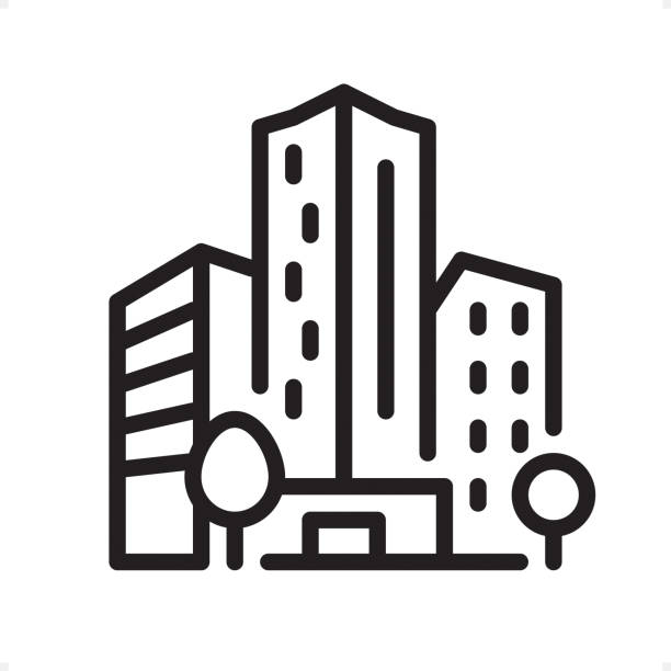 office building - outline icon - pixel perfect - architecture clipart stock illustrations