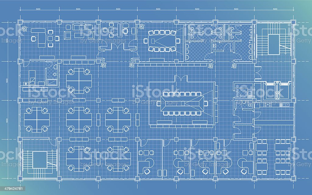 Office Building Plan Blueprint Stock Vector Art & More Images of ...