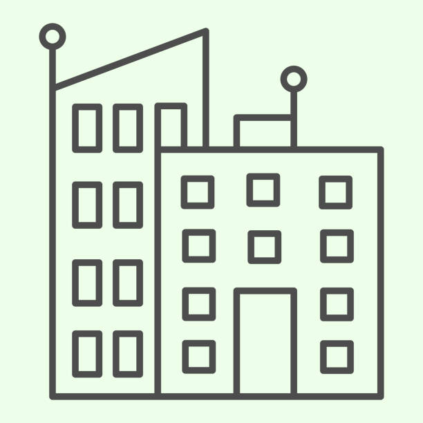 Office building thin line icon. Urban business architecture outline style pictogram on white background. Office skyscrapers for mobile concept and web design. Vector graphics. Office building thin line icon. Urban business architecture outline style pictogram on white background. Office skyscrapers for mobile concept and web design. Vector graphics architecture clipart stock illustrations