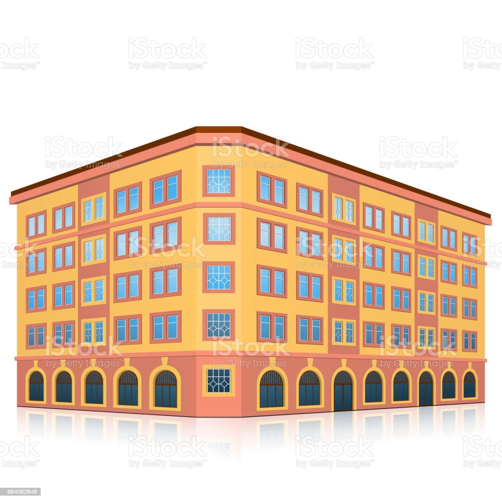 office building with an entrance and reflection - Royalty-free Architecture stock vector