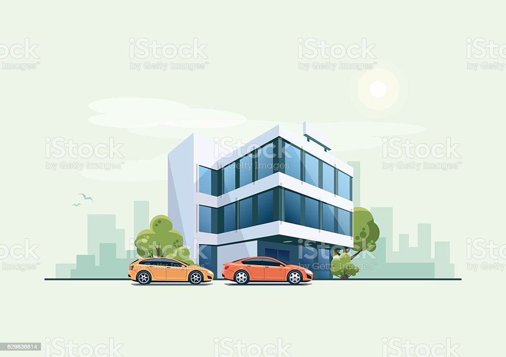 Office Building with Parking Cars and City Background vector art illustration