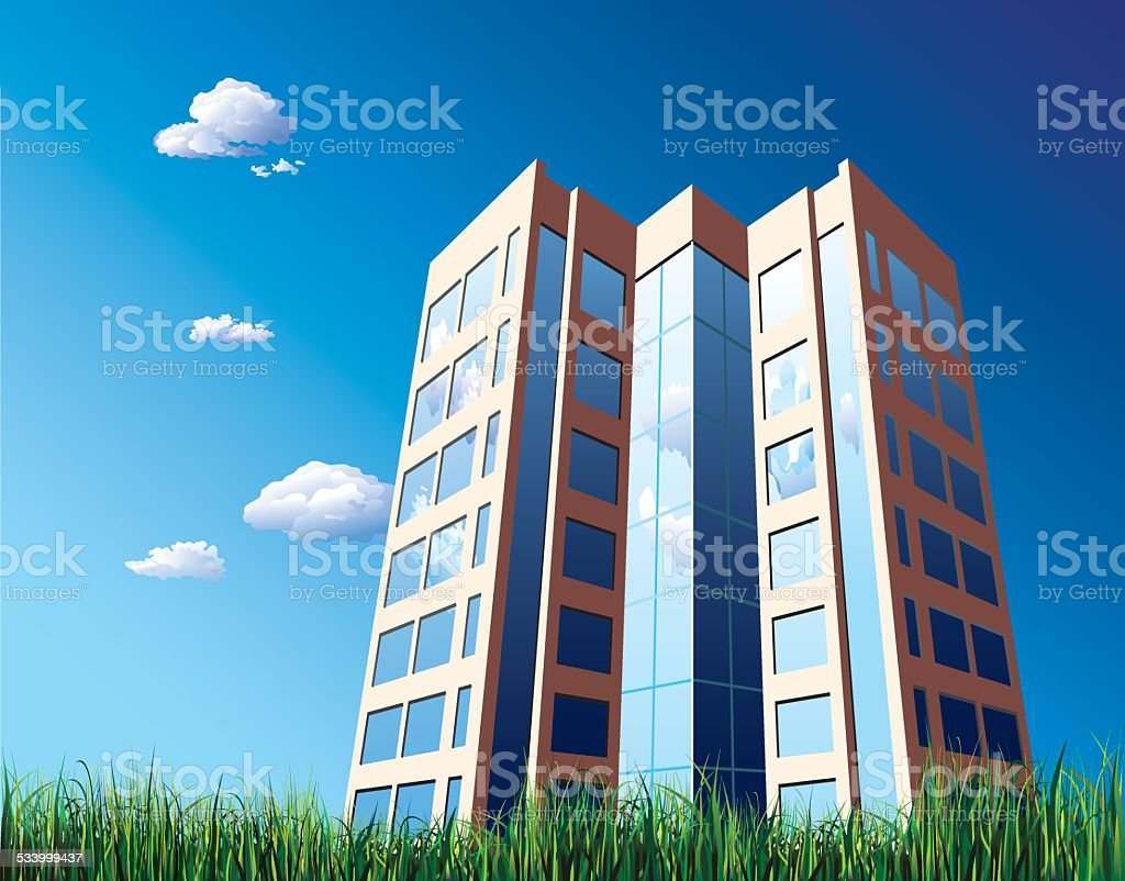 Office building with reflecting cloud vector art illustration