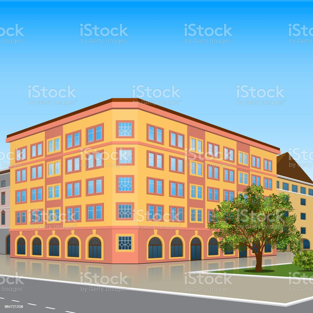 office building with the entrance and a reflection royalty-free office building with the entrance and a reflection stock vector art & more images of architecture