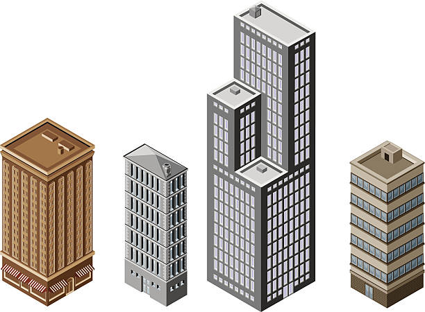 Office Buildings - Isometric vector art illustration