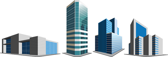 Office buildings on white clipart
