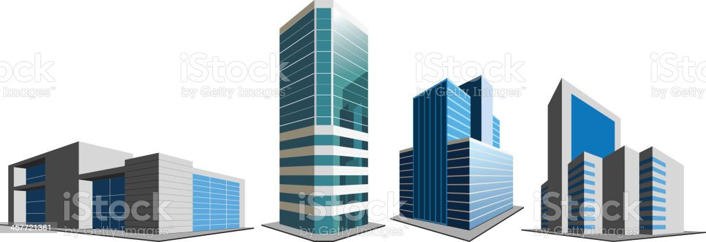 Office buildings on white vector art illustration