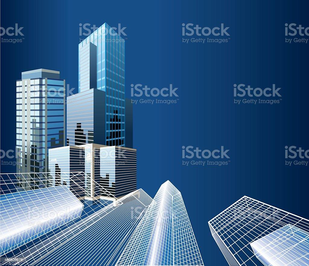 Office buildings vector art illustration