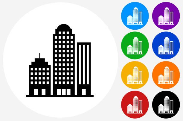 stockillustraties, clipart, cartoons en iconen met kantoorgebouwen. - wolkenkrabber