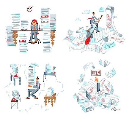 Office bureaucracy and paperwork in business set. Paper, document and binder overload vector illustration. Frustrated tired busy man sitting in piles and stacks of messy clutter