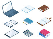 Flat vector isometric illustration of office desktop workplace supply set. Vector stationeries: business and school organizer, copybook, document folders, calculator, laptop, smartphone, taplet pc.