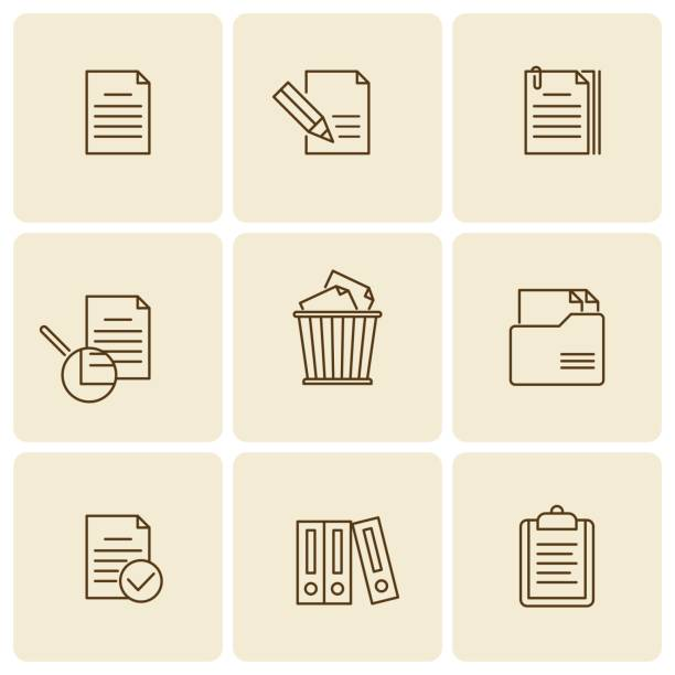 Office, business documents, files, folders vector thin outline icon set. vector art illustration