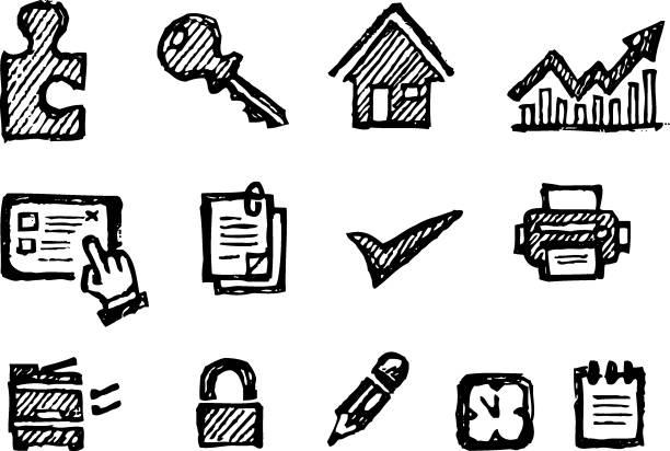 bildbanksillustrationer, clip art samt tecknat material och ikoner med office business ikoner skiss set - chain studio