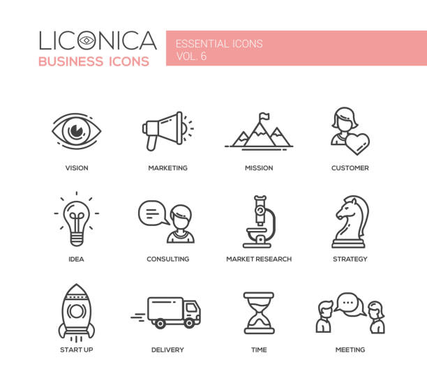 Office, business modern thin line design icons and pictograms Set of modern vector office plain thin line flat design icons and pictograms. Collection of business infographics objects.  Marketing, customer, consulting, market, research, strategy, time, delivery, meeting, vision, idea, start up the way forward stock illustrations
