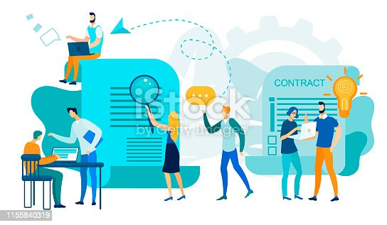 Office People Team Work, Contract Signing, Men, Women Characters Working Process. Business Idea, Data Analysis Chart, Information Research, Businesspeople Employees. Cartoon Flat Vector Illustration