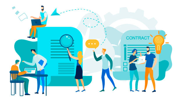 office business people team work, contract signing - kontrakt stock illustrations