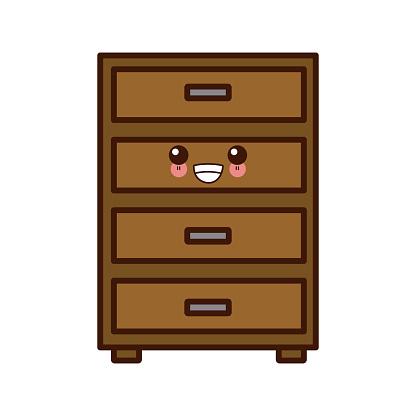 Office cabinet isolated cute kawaii cartoon