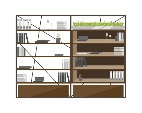 Office cabinets flat color vector object