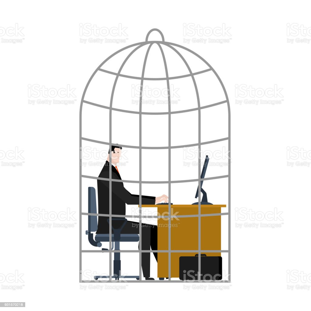 Office Cage. businessman is trapped. Vector illustration. vector art illustration