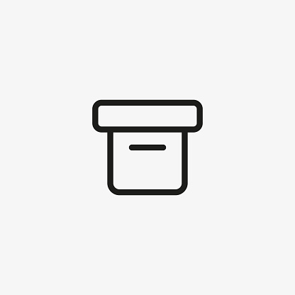 Office cardboard box vector icon. Archive storage box in line style for web and mobile apps.