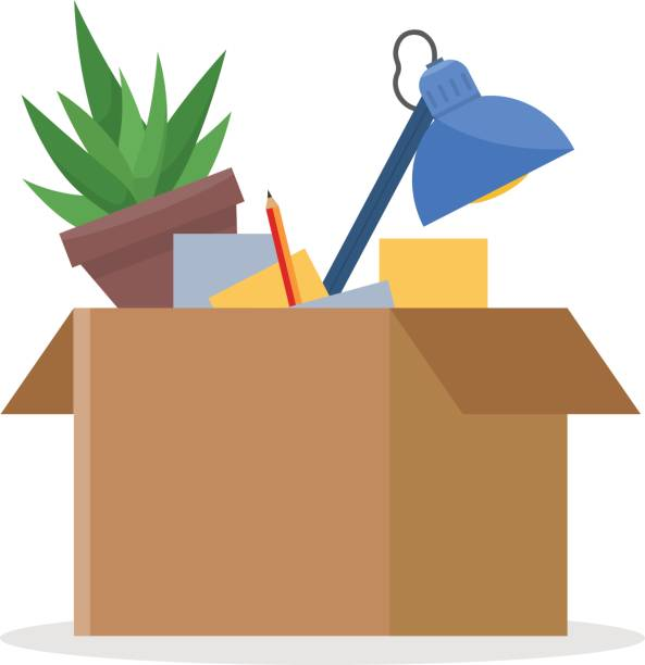 office cardboard box - umzugskartons stock-grafiken, -clipart, -cartoons und -symbole