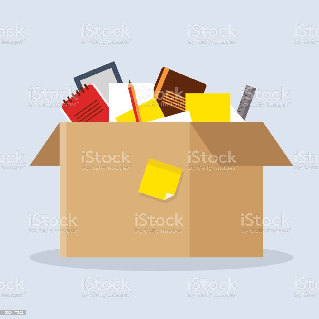 Office cardboard box royalty-free office cardboard box stock vector art & more images of achievement