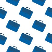 Office case symbol seamless pattern. Briefcase icon backdrop. School bag wallpaper. Flat vector graphic illustration on white background