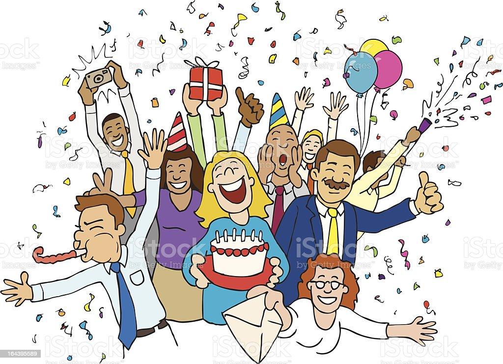 Office Celebration Cartoon (Vector Illustration) vector art illustration