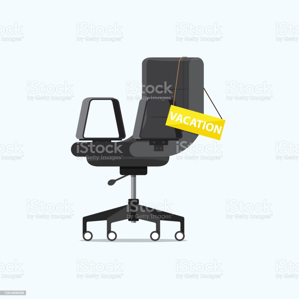 Office Chair And A Sign Vacant With VACATION Message In Side View Business Hiring