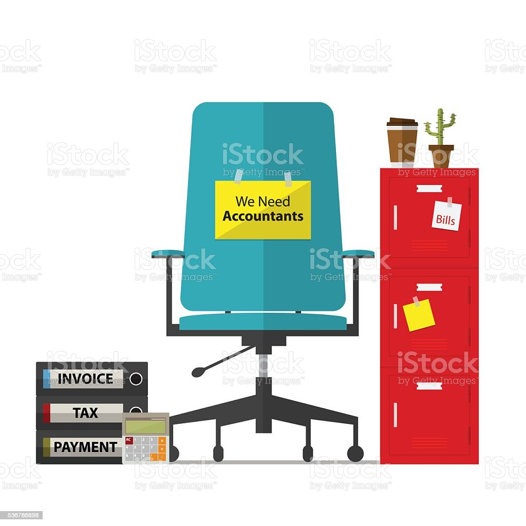 Office chair and paper with we need accountant message. vector art illustration