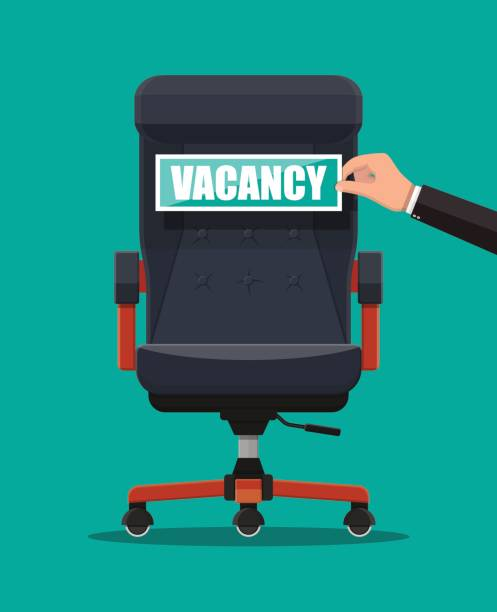 Office chair and sign vacancy in hand of boss. Office chair and sign vacancy in hand of boss. Hiring and recruiting. Human resources management concept, searching professional staff, work. Found right resume. Vector illustration in flat style vacancy stock illustrations