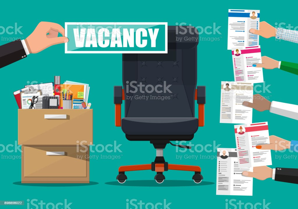 Office chair and sign vacancy in hand of boss. vector art illustration