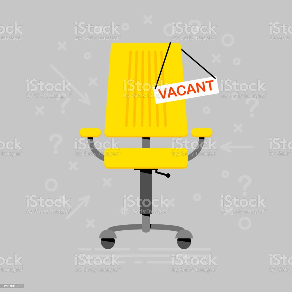 Office chair and sign vacant. Business hiring. Recruiting. 3d flat concept vector illustration vector art illustration