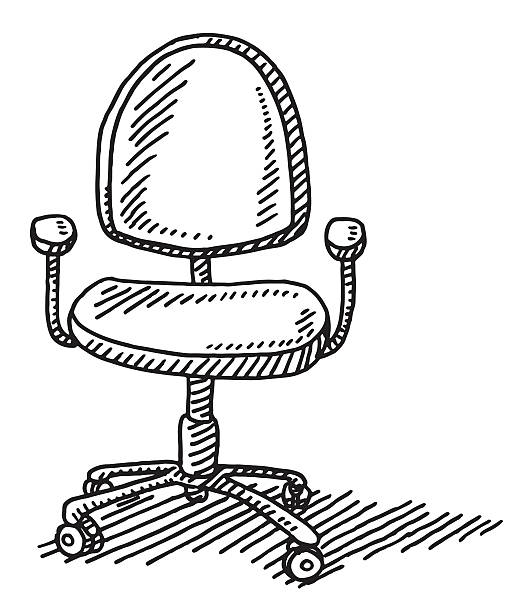 Office Chair Drawing Hand-drawn vector drawing of an Office Chair. Black-and-White sketch on a transparent background (.eps-file). Included files are EPS (v10) and Hi-Res JPG. transportation stock illustrations