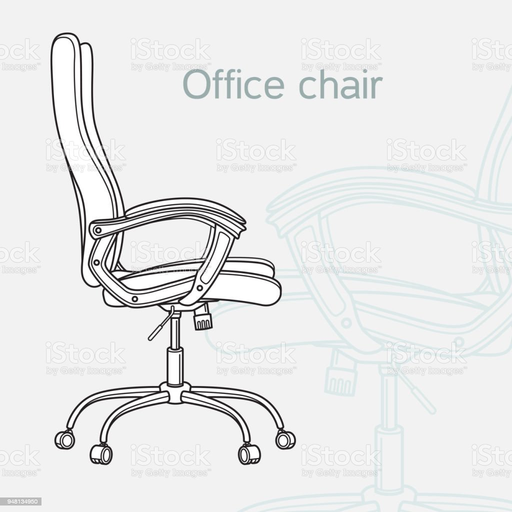 Office Chair Drawn In A Schematic Style Stock Vector Art More Desk Royalty Free