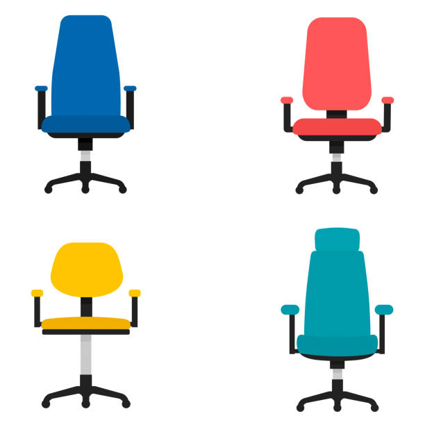 Office chair flat design Vector icon isolated on white Office chair flat design Vector icon isolated on white office chair stock illustrations