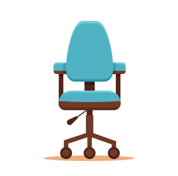 office chair flat icon. - stuhllehnen stock-grafiken, -clipart, -cartoons und -symbole