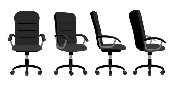 Office chair front and back Office chair front and back. Vector minimal office chairs angle view isolated on white background, empty work stool with wheels vector illustration office chair stock illustrations