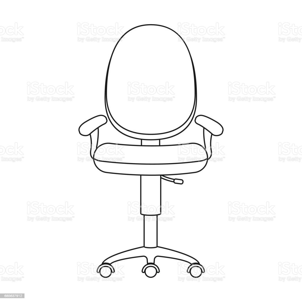 Office Chair Icon In Outline Style Isolated On White